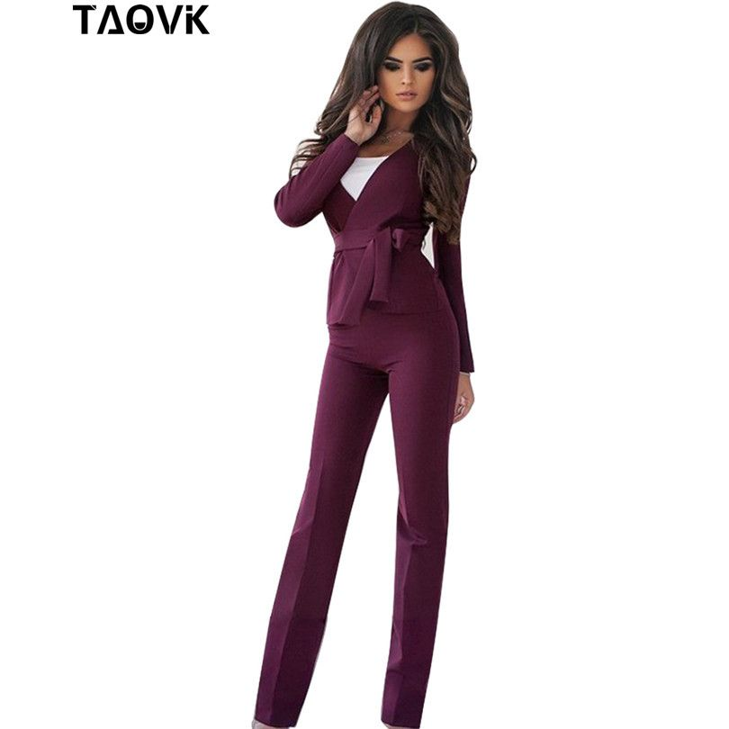 TAOVK women professional suits V-shaped collar jacket with a sashes and Horn trouser 2-piece suit