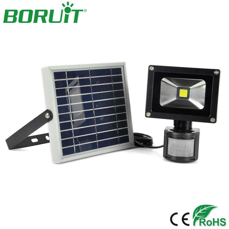 BORUiT 10W LED Solar Lamp PIR Motion Sensor Solar Power Spotlight Waterproof Outdoor Square Garden Solar Light Flood Spot Lights
