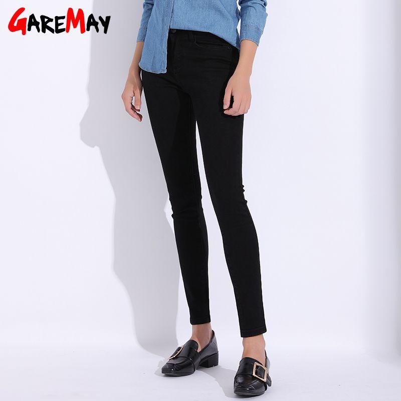 Garemay negro Vaqueros para mujer más el lápiz flaco del tamaño de las mujeres ocasionales Pantalones 2018 con cintura alta Vaqueros stretch femme