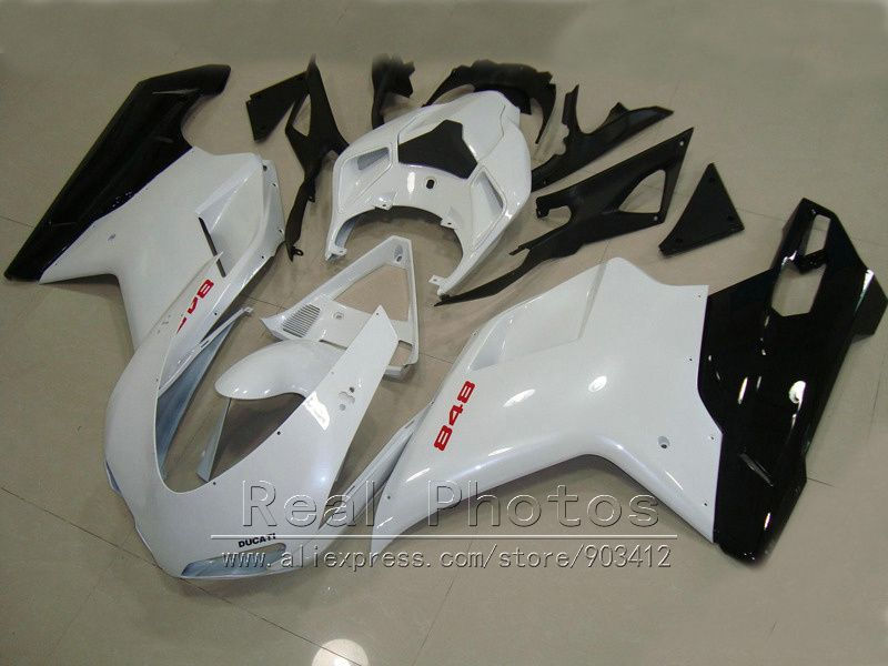 Bodywork fairing kit for Ducati 848 1098 07 08 09 10 11 white black fairings set 848 1198 2007-2011 DY65