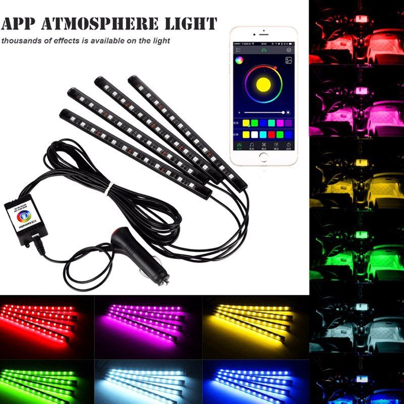4 шт. автомобилей Атмосфера лампы App дистанционного управления RGB Светодиодные полосы света модные авто интерьера ритм музыки свет dx