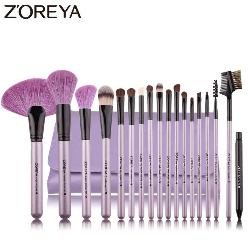 ZOREYA marque 18 pièces pinceau de maquillage naturel pour maquillage poils souples poudre fond de teint ventilateur pinceaux cosmétiques ensemble outil de maquillage des lèvres des yeux