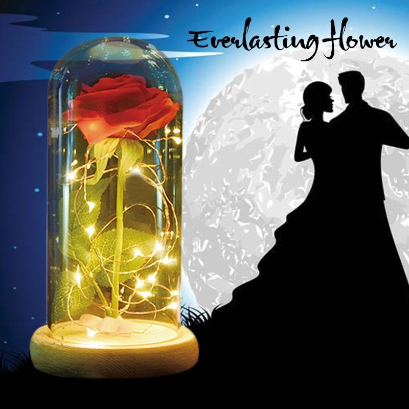WR Beauty and the Beast Full Kit, Red Silk Rose and Led Light with Fallen Petals in a Glass <font><b>Dome</b></font> on a Wooden Base