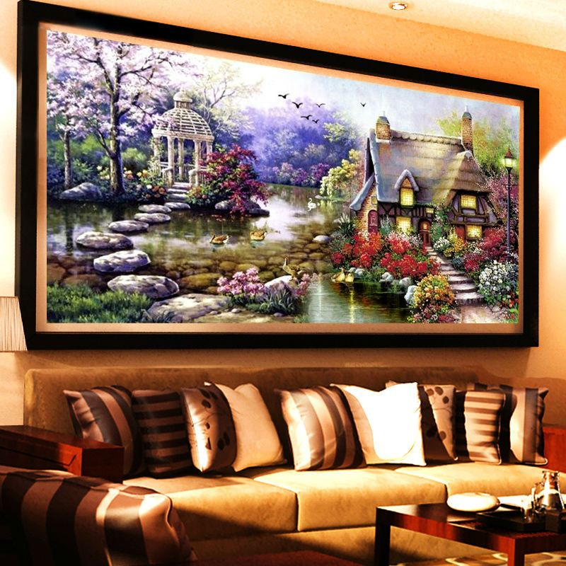 New Garden 5D Diy Diamond Painting Cross Stitch Lake <font><b>House</b></font> Scenery Diamond embroidery Crystal Round Rhinestone Mosaic Picture