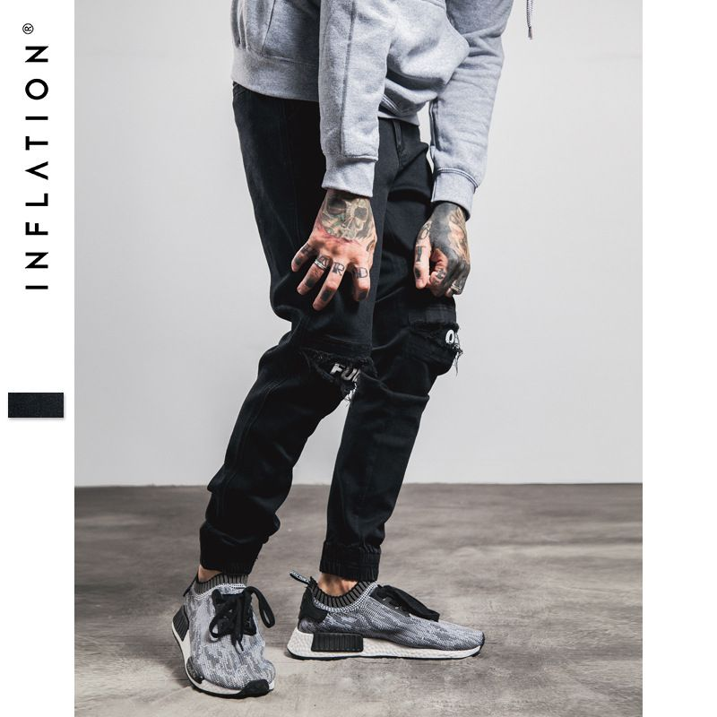 INFLATION New Ripped Frayed Jeans For Men Skinny Destroyed Famous Hip Hop Black Men Joggers Pants Casual High Street 233W16