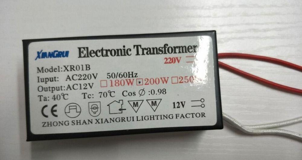Nouveau 200 W haute puissance pas de bruit pas de scintillement transformateur électronique 220 V-12 V ampoule halogène pilote