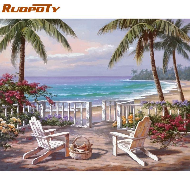 RUOPOTY cadre bord de mer paysage peinture à la main par numéros Kits peinture acrylique par numéros moderne mur Art photo pour les décors de la maison