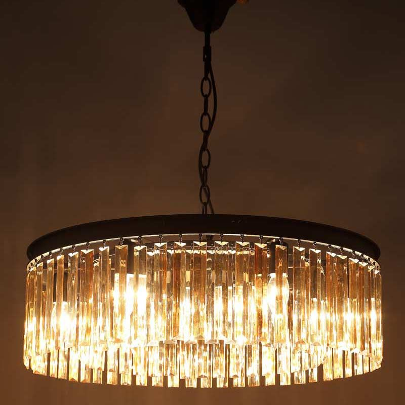 E27 American Country Retro Vintage Amber Crystal Lamp Pendant Lights Living Room Kitchen Black Iron Home Lighting 110-240V
