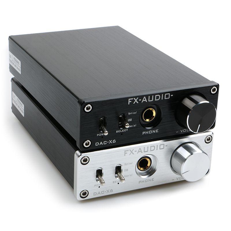 Nouveau FX-AUDIO DAC-X6 MINI HiFi 2.0 décodeur Audio numérique entrée DAC USB/Coaxial/sortie optique RCA/amplificateur 24Bit/96KHz DC12V