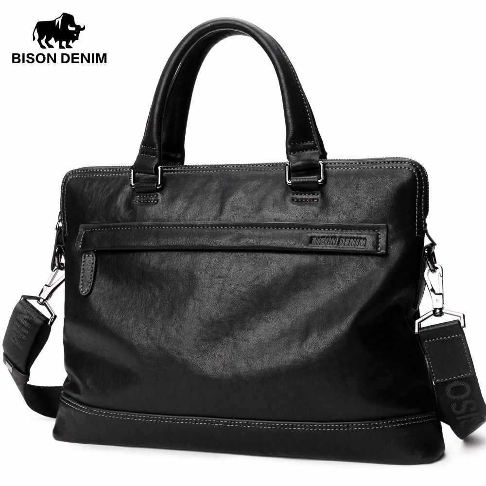 BISON DENIM Genuine Cowhide briefcase 14 inch Laptop men's messenger bag Casual Natural Cowskin Business bag N2700-3