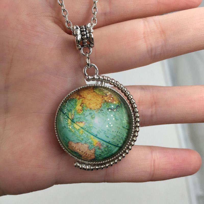 Erde Weltkarte Doppelseite Drehbare Heiße glaskuppel schmuck Vintage Globus Halskette Planeten Halskette Kunst glaskuppel