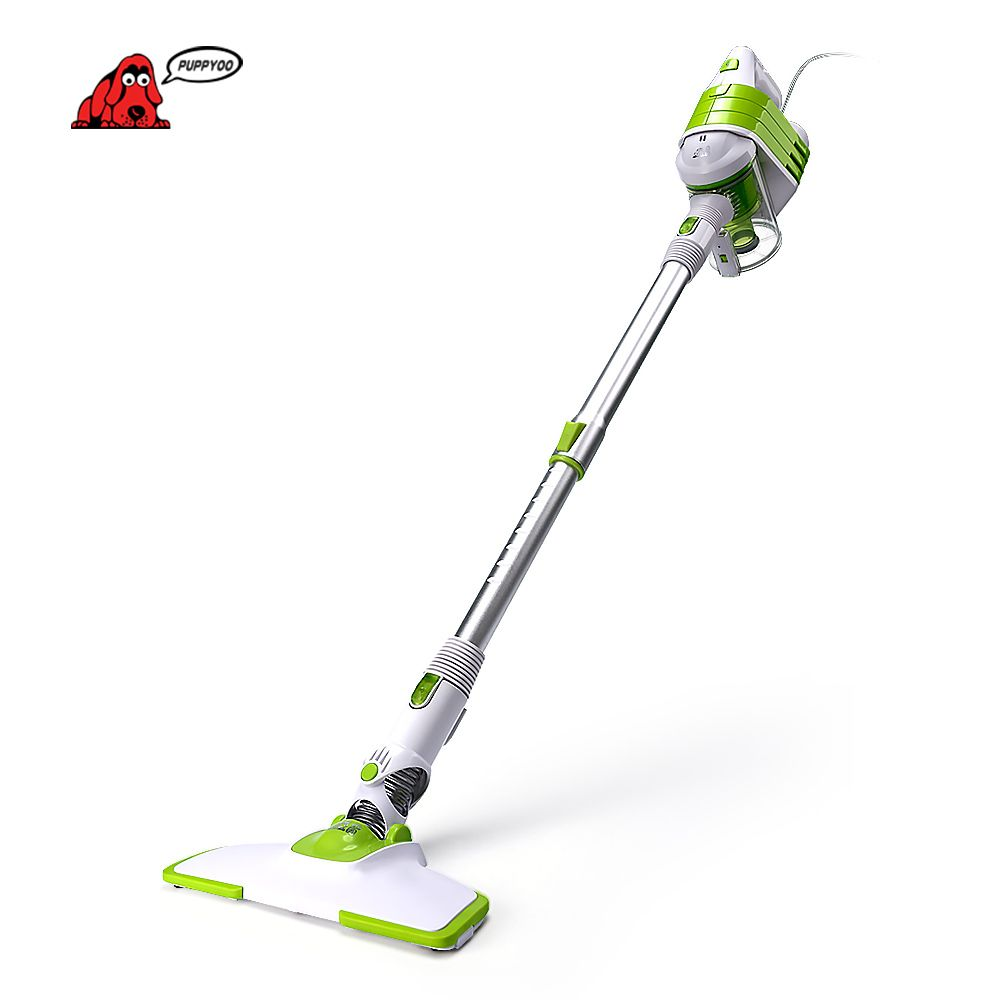 PUPPYOO Low Noise Home Rod Vacuum Cleaner Handheld Dust Collector Household Aspirator White&Green Color WP521