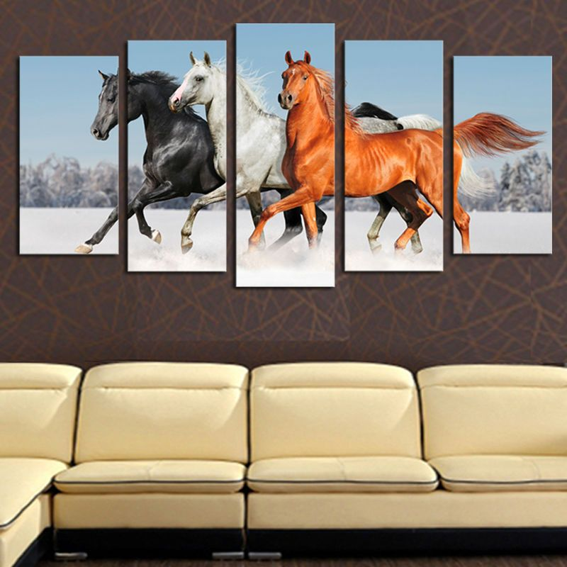 Part 5 panels without modern horses running in the snow HD Image Art Print On Canvas Painting The Wall of Home Decoration F/1780
