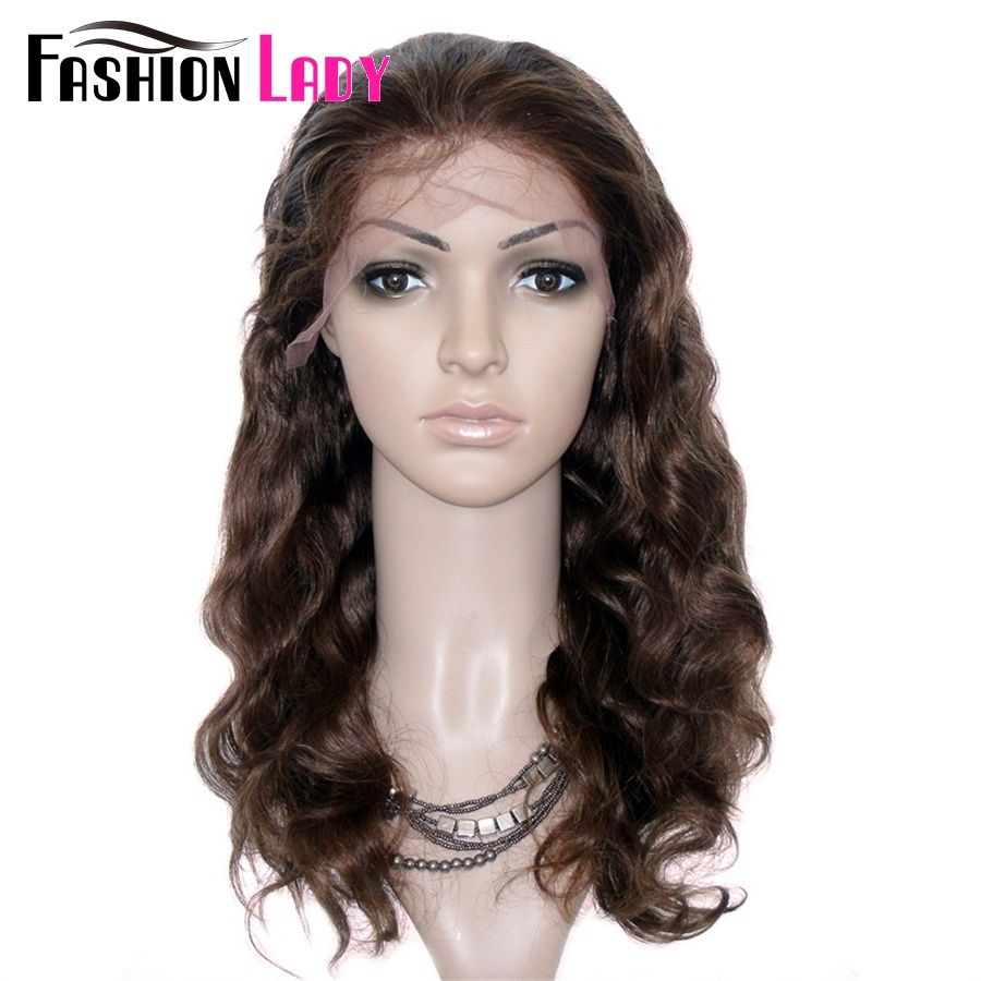 FASHION LADY Brazilian Remy Hair Body Wave 16inch Human Hair Lace Wig With Adjustable Band And Baby Hair