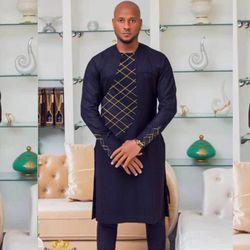 H & D 2018 Primavera Verano ropa Africana África hombres dashiki ropa masculina hombre Top pantalones trajes Traje dos 2 unidades set bordado