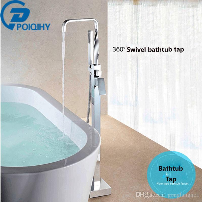 Poiqihy nueva Brass bañeras piso montado pie cromo mezclador de la bañera del grifo W/ducha de mano