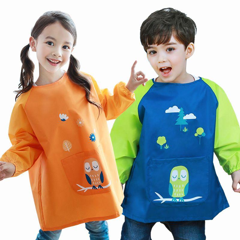 0-11 ans imperméable bébé fille garçon à manches longues dessin animé bavoirs enfant en bas âge bébé Burp tissu alimentation enfant dessin et peinture tablier