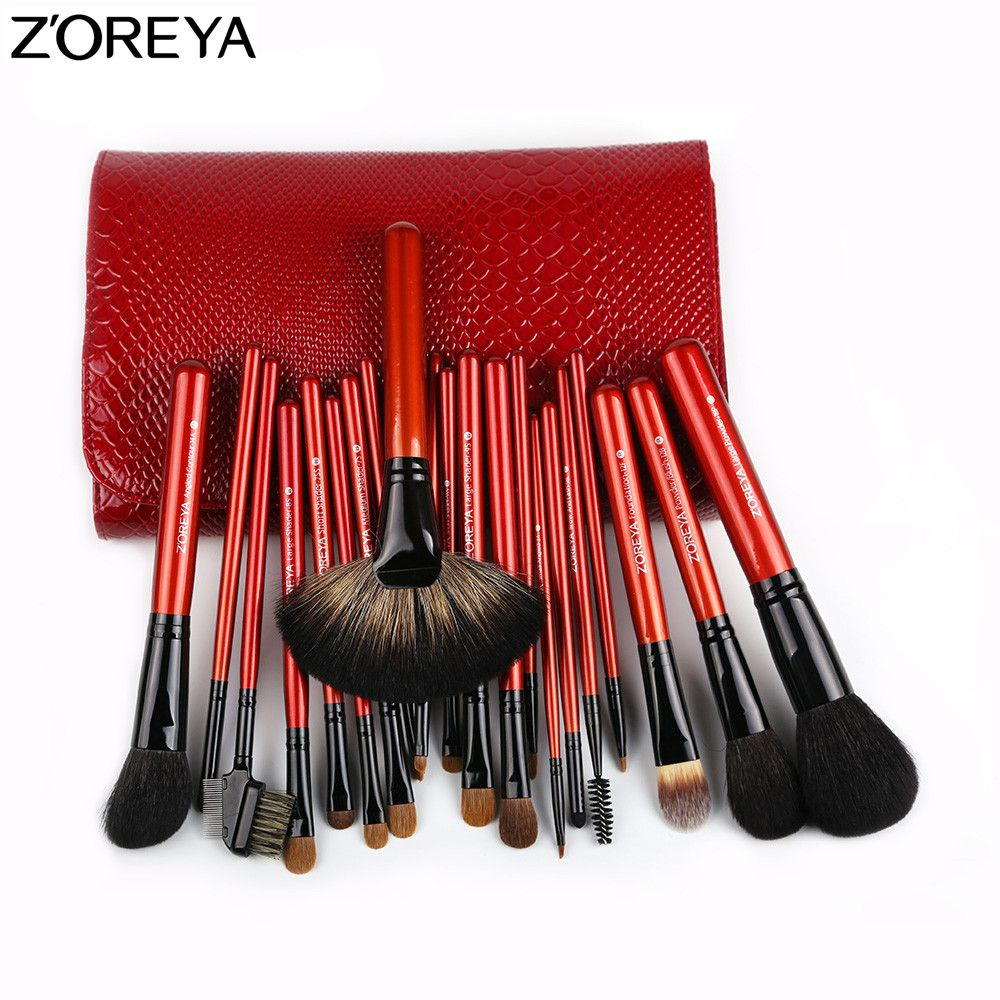 ZOREYA Make-Up Pinsel Set 21 stücke Sable Haar Fan Powder Foundation Lidschatten Blending Lip Pinsel Schönheit Bilden Werkzeug