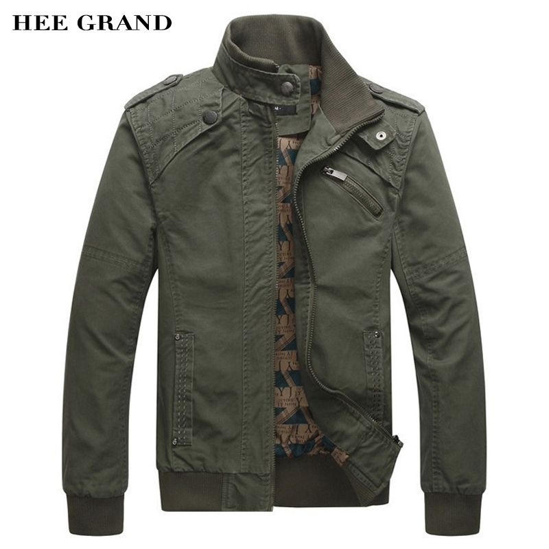 HEE GRAND 2018 New Arrival Men's Fashion Casual Spring Autumn Jacket Cotton Stand Collar Coat 4 Colors MWJ166