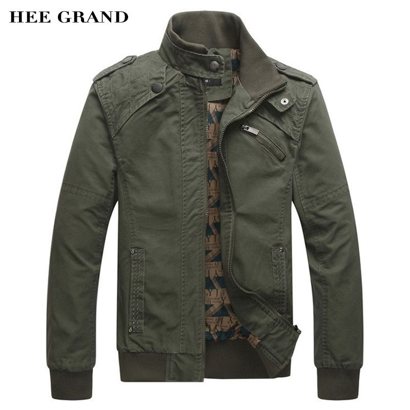HEE GRAND 2018 New <font><b>Arrival</b></font> Men's Fashion Casual Spring Autumn Jacket Cotton Stand Collar Coat 4 Colors MWJ166