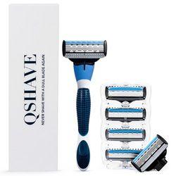 Qshave бренд синий Для мужчин руководство для бритья Бритвы лезвие-триммер Детская безопасность лезвия изготовлены в США машина бритвы прямые...
