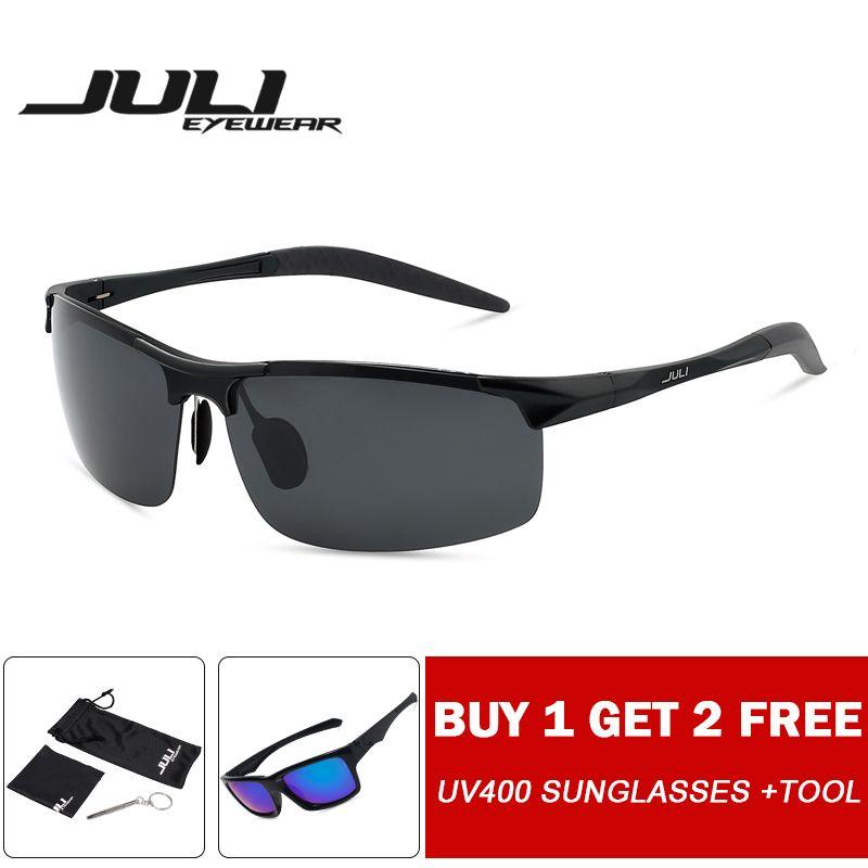 JULI lunettes de soleil polarisées pour hommes Style sport pour hommes voyage Oculos conduite Golf incassable aluminium magnésium métal cadre lunettes