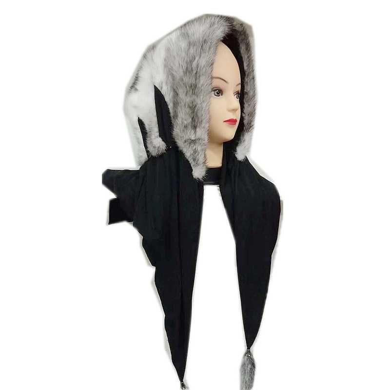 100% real nerz hijab muslim islamischen schal frauen winter print quasten echtem pelz kopftuch hijab caps jersey motorhaube musulman