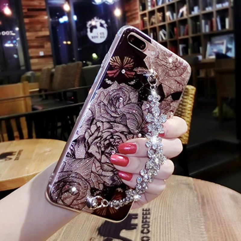 Rhinestone Silicone Case For iPhone 6 6S Plus Glitter Flower Luxury Diamond Case For iPhone 7 8 Plus X Cases Coque