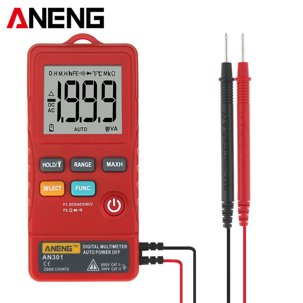 ANENG AN301 Portable Mini Digital Multimeter 1999 Counts AC DC Voltmeter Ohm Voltage Frequency Meter with LED Light