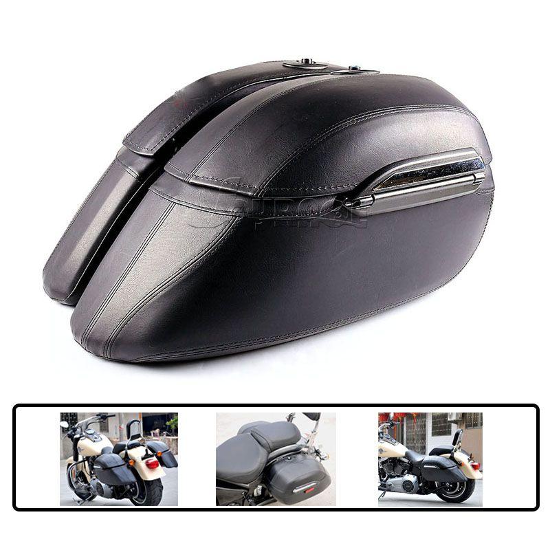 Universal Motorcycle Saddle Bag Mount Bracket Trunk Luggage Saddlebags for Harley Honda Yamaha Kawasaki BMW Cruiser Hard Bag