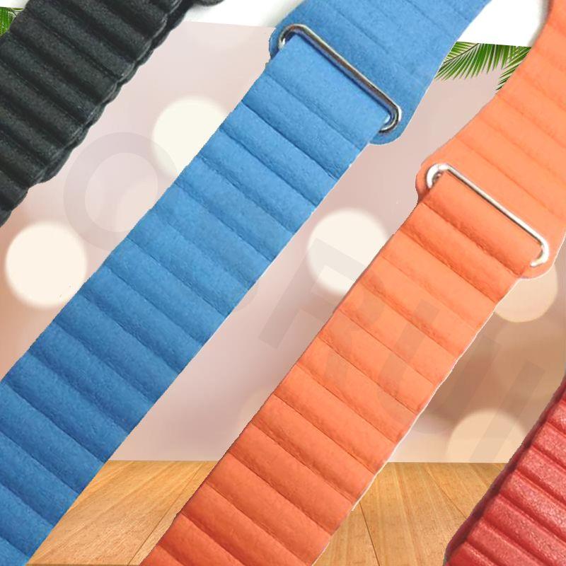 Genuine Leather Loop for apple watch band 44mm 40mm strap iwatch 4 3 2 1 band 42mm 38mm wrist belt bracelet Magnetic Adjustable