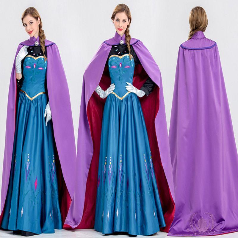 Free shipping Frozen Anna Princess Elsa ice cream queen Adult Halloween costume princess princess dress costume JQ-1025