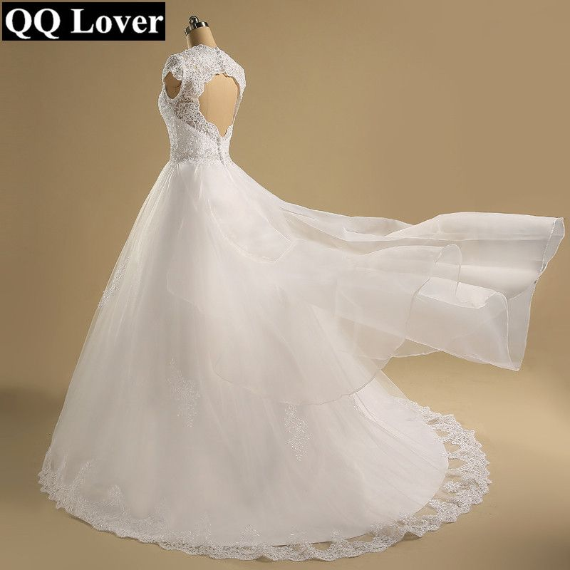 QQ Lover 2018 Cap Sleeve Vestido De Noiva See Through Back Bohemian Wedding Dress Boho Beach Wedding Gown