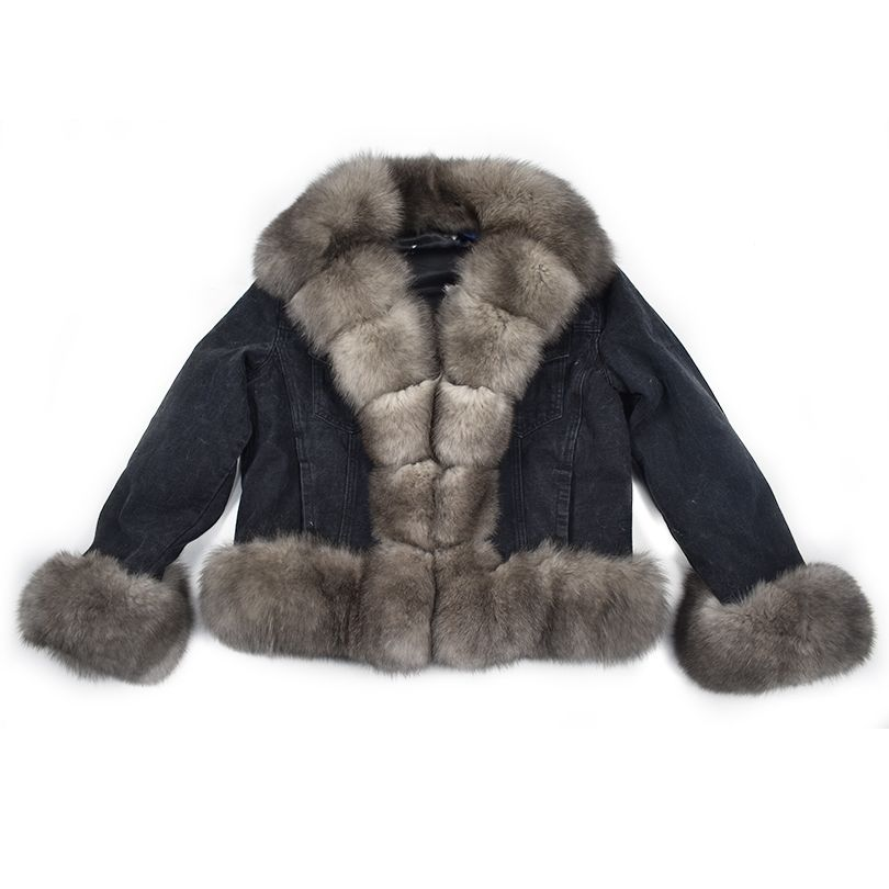 2018 spring real fox rabbit fur denim parka coat jacket jean high spring women natural fur coat thick lining warm fur parkas