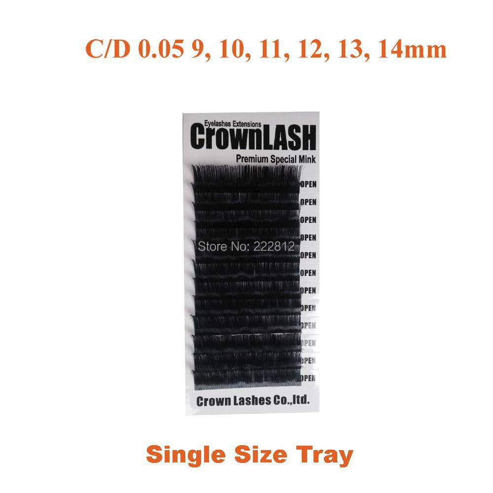 Extension de cils de Volume noir 9D Crownlash C, D-0.05 7-15mm plateau de taille unique extrême mince et doux