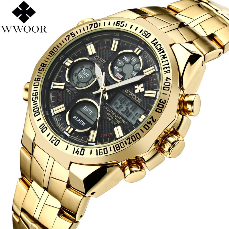 WWOOR Brand Luxury Men Waterproof Sports Watches Men's Quartz Gold LED Digital Clock Male Military Wrist Watch Relogio Masculino
