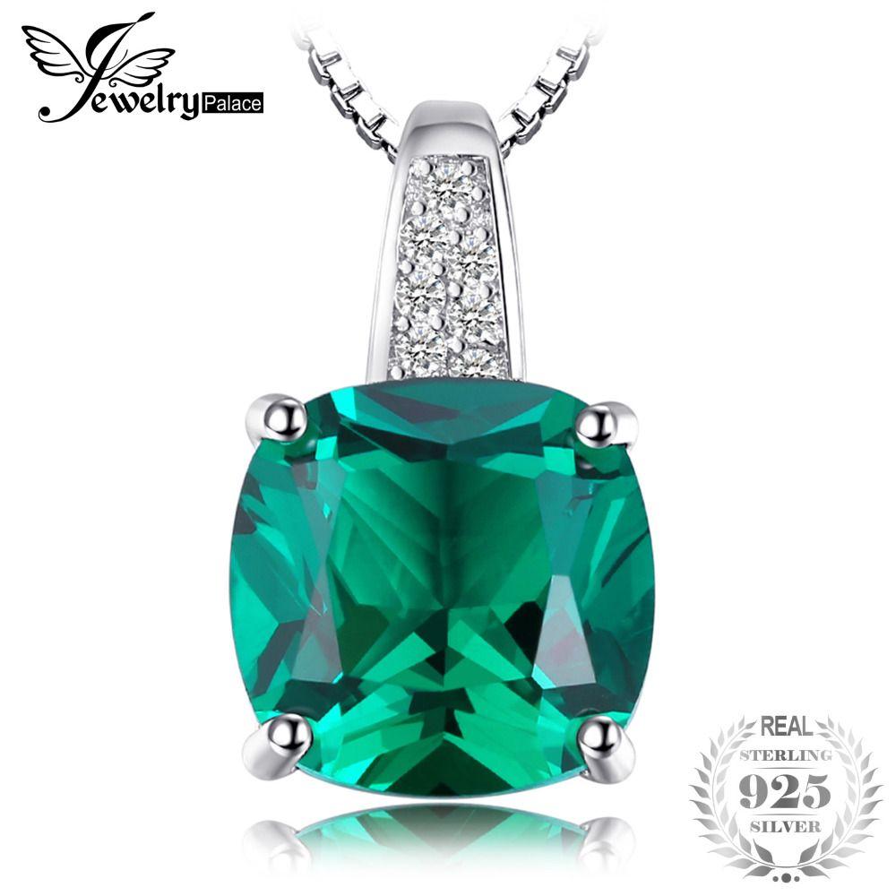 JewelryPalace Coussin 3.4ct Créé Émeraude Colliers et Pendentifs En Argent 925 Bijoux Pour Femmes Accessoires Comprennent Pas Une Chaîne
