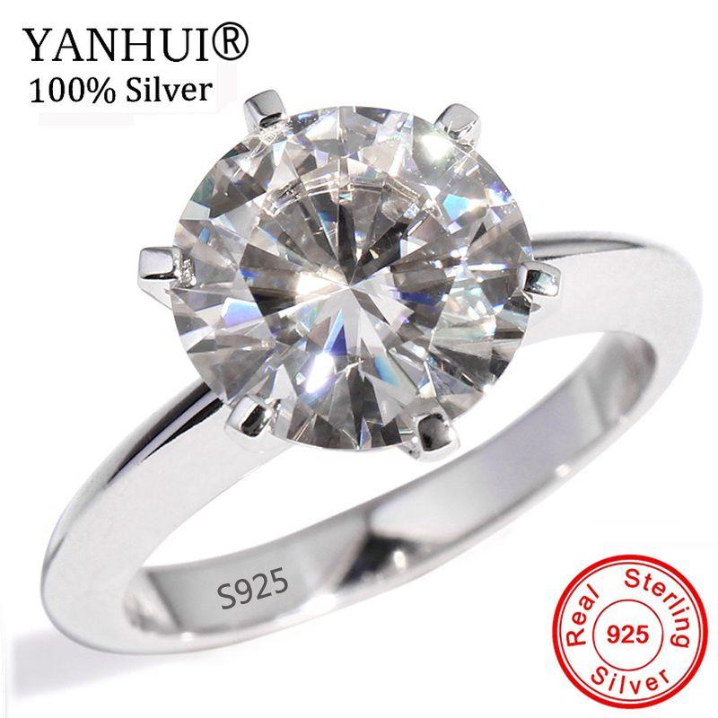 YANHUI Original 925 Solide Silber Ring Für Frauen Solitaire 1.5ct Diamant Engagement Ringe Hochzeit Finger-Ring Edlen Schmuck YNR121