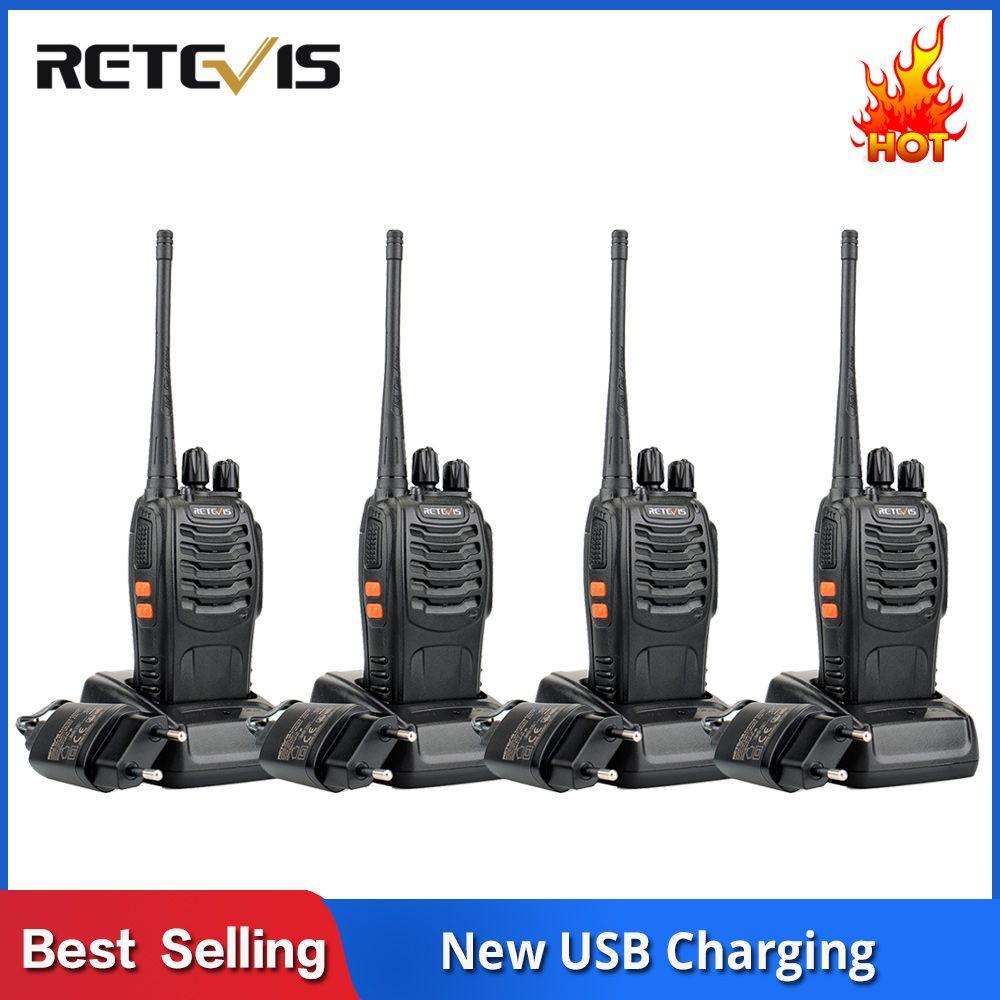 4 pcs Handy Walkie Talkie RETEVIS H777 3W UHF Transceiver Two Way Radio Station Communicator Two-way Radio Walkie-Talkie Hotel