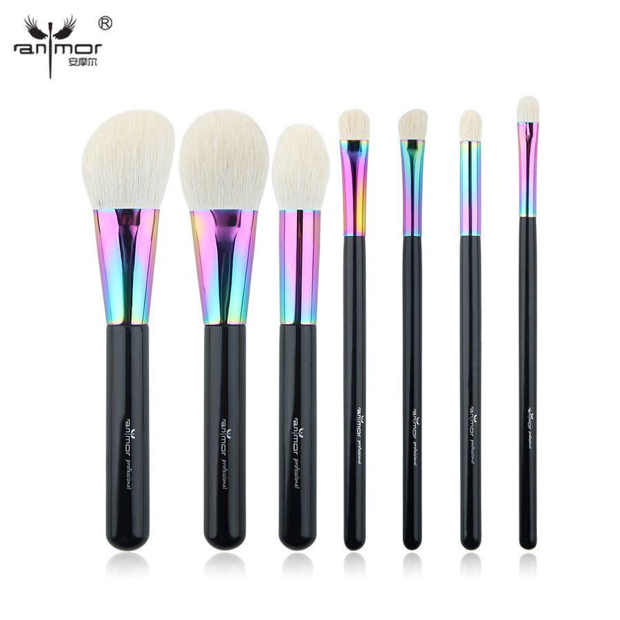 Anmor 7 pcs/ensemble Haute Qualité Maquillage Pinceaux Essential Make Up Outils Pur Chèvre Cheveux Cosmétique Brosse CFCB-YF03