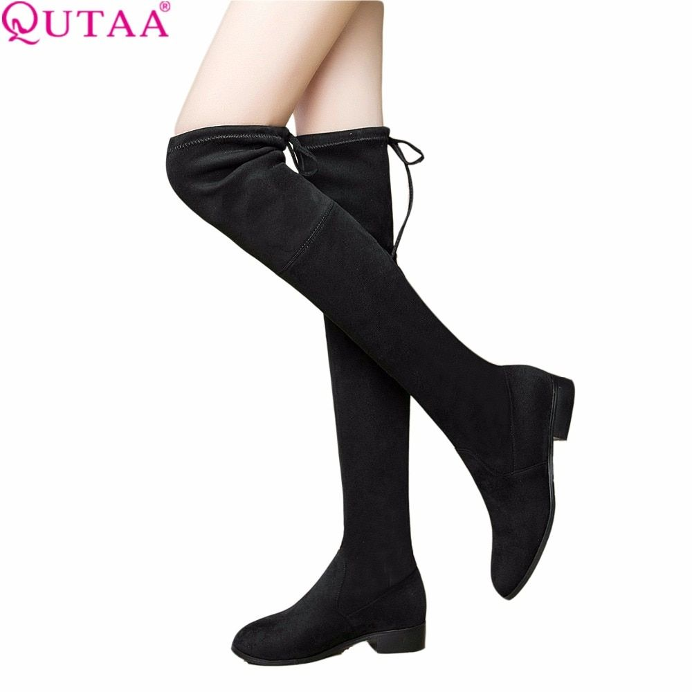 QUTAA 2017 Ladies Shoes Square Low Heel Women Over The Knee Boots Scrub Black Pointed Toe Woman Motorcycle Boots Size 34-43