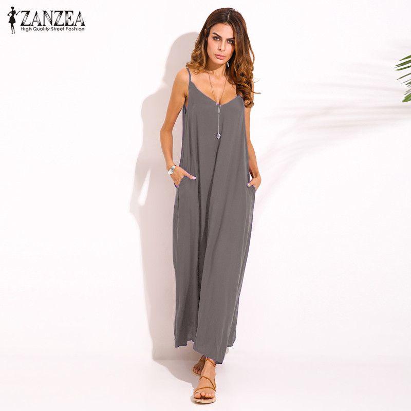 Zanzea 2018 Style d'été Femmes Bohème Sans Bretelles Sexy Col en V Sans Manches Robe Décontractée Lâche Longue Maxi Robe Vestidos Plus taille