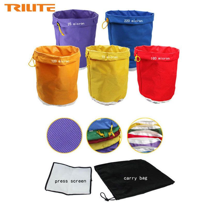 5 Gallon 5Bag Kit Free Press Screen Bubble Ice Bags 5 Gallon Hash Herb Oil Extraction Oxford Filter Bags <font><b>Garden</b></font> Grow Bag 5 Color