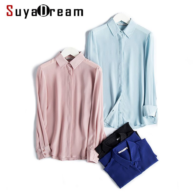 Women SHIRT Solid Button top shirt 100% Natural silk casual shirt Blusas femininas 2017 New Pink White BLACK