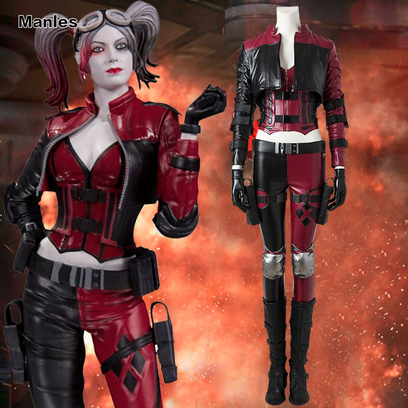 Injustice 2 Harley Quinn Cosplay Costume Halloween Outfit Gameplay Fight Suit Injustice League Fancy Clothing Adult Women Boots