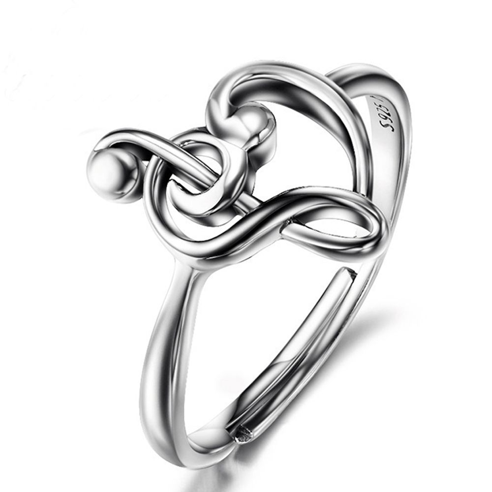 Sue Phil 925 Sterling Silver Music Note Wedding Rings For Women Luxury Jewelry Adjustable Heart Love Music Rings Femaledropship