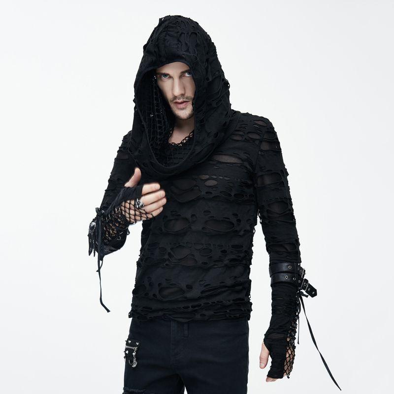Teufel Und Gothic Dark Dekadenten T-Shirts für Mann Visuelle Kei Steampunk Löcher Langen Ärmeln T-shirt mit Hoody Casual Tops
