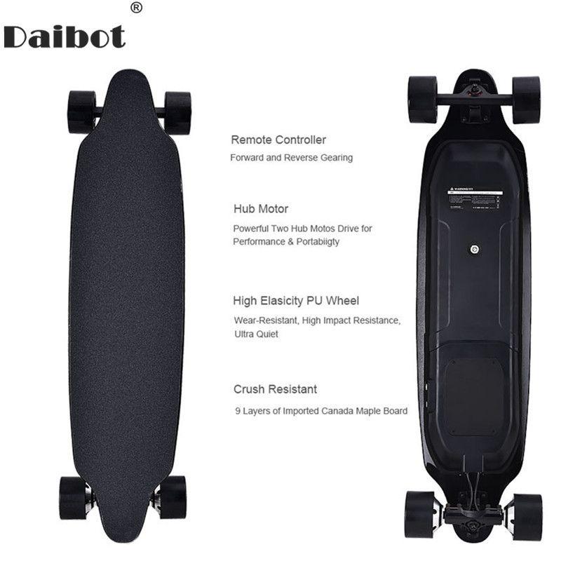 Daibot Elektrische Roller Für Erwachsene 4 Rad Elektro-scooter 40 KM/H Dual Hub Motor Remote Longboard Elektrische Skateboard