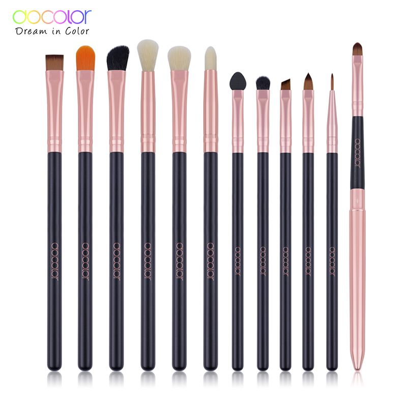 Docolor 12pcs Eyeshadow Makeup Brushes Set Pro Rose Gold Eye Shadow Blending Make Up Brushes Soft Synthetic Hair For Beauty