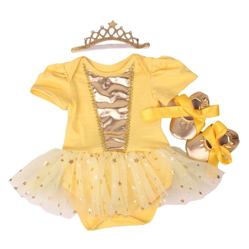 Newborn Baby girl dresses headband shoes set infantil Children's clothing sets girls tutu kids wear summer short sleeve vestido